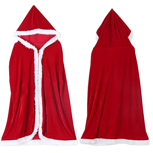 Red Hooded Cape, 3 Types Christmas Halloween Long Wicca Cape Cloak Cosplay Costume Cape (XL-150cm) ()