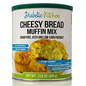 Diabetic Kitchen Cheesy Bread Muffin Mix Puts Bread Back On Your Menu ? Non-GMO, Sugar-Free, Gluten-Free, High-Fiber, Keto-Friendly, Low-Carb