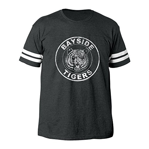 American Classics Unisex-Adults Saved by The Bell Bayside Tigers Mens Football Tee, Vintage Smoke, Medium -
