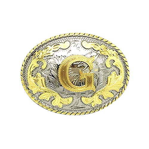 (Initial Letter Belt Buckle Western Cowboy Style Rodeo Large Gold Silver Metal Buckles for Men Women (ABC-Z).)