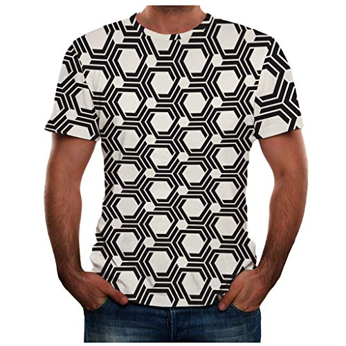 iHPH7 T-Shirts 3D T Shirts Summer Fitting Short Sleeve Tops Tees Colorful Realistic Printed Summer New Full T Shirt Plus Size Cool Printing Top Blouse Men (XXL,1- White)