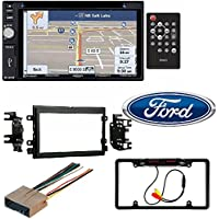 2004-2016 Ford F250/350/450/550 Jensen VX6628 Double DIN Bluetooth, Navigation In-Dash Car Stereo Receiver Cache Night Vision Car License Plate Rearview Camera - Black CAM810B