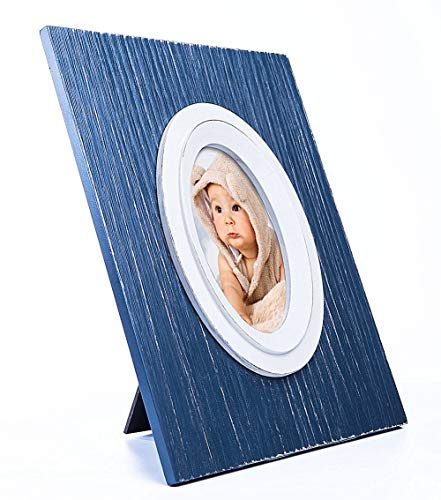 JD-Concept 10x12 Distressed Natural Heavy Wood Picture Frame for Oval Photo 4x6, Navy Blue Frame with Glass,Table Desk Top Standing or Wall - Glass Navy Frame Art