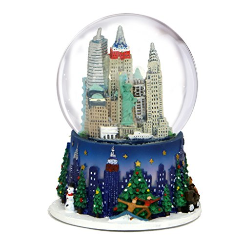 3.5 Inch New York City Christmas Snow Globe and Rockefeller Center Skyline NYC Snow Globes -