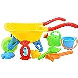 deAO Kids Wheelbarrow Gardening and Seaside Beach Play Set for Outdoor Activities with Accessories including Bucket, Spade, Rake