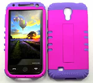 HYBRID IMPACT SILICONE CASE + LIGHT PURPLE SKIN FOR SAMSUNG GALAXY S 4 NEON HOT PINK