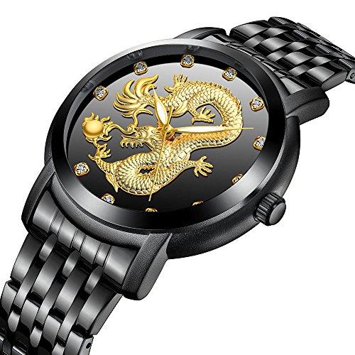 - Mens Stainless Steel Luxury Waterproof Gold Watch 3D Dragon Pattern Big Face Dial Quartz Wrist Watch Gold & Black (Black)