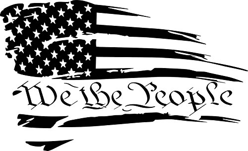 (We the People Distressed American Flag Vinyl Decal Sticker)