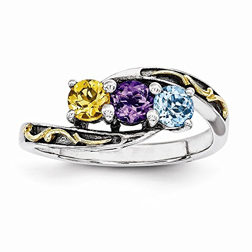 Sterling Silver & 14k Three-stone Mother's Ring Mounting, Best Quality Free Gift Box - Base Only, No Stones ()