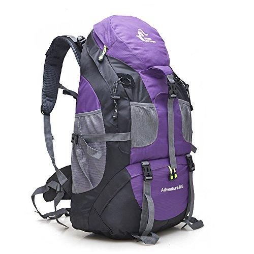 Free Knight 50L Hiking Daypacks Hiking Travel Backpack Camping Rucksack (Purple)