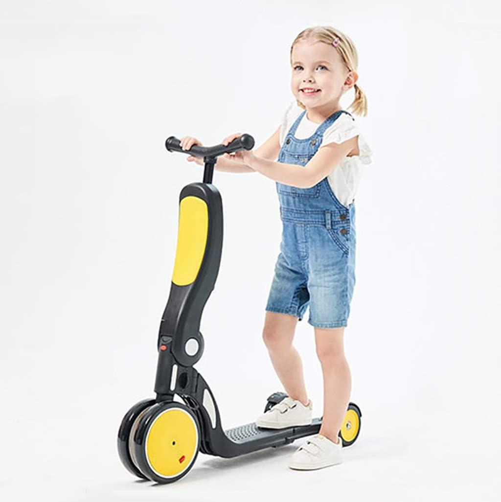 LIfav Niños Kick Scooter, Kickboard + Triciclo Bici + Balance para 1~6 Edad del Paseo del Niño En El Juguete del Niño De La Muchacha del Muchacho De La Vespa Ajustable, Amarillo