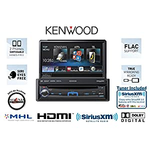 Kenwood KVT-7012BT In Dash Single Din Flip out Monitor with Bluetooth and Satellite Radio Tuner, Antenna and a FREE SOTS Air Freshener