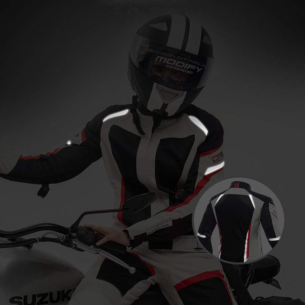 TIUTIU Veste De Moto Veste De Cyclisme Femme /ét/é Mesh Jersey /à Manches Longues Airy Slim Racing Suit Avec Mat/ériau R/éfl/échissant White,M