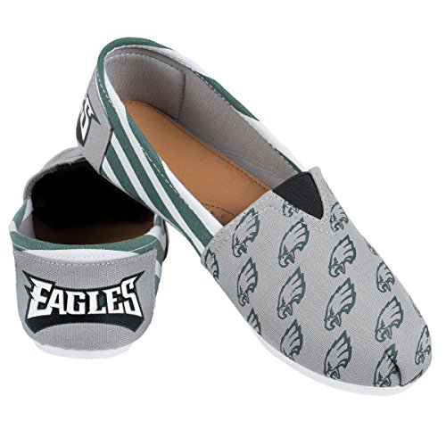 Forever Collectibles NFL Philadelphia Eagles Women's Canvas Stripe Shoes, Large (9), Green