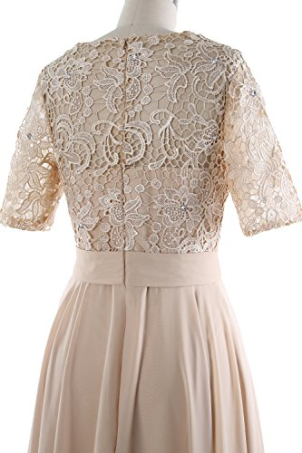 MACloth Lace Mother Gown Sleeve Women Bride Dress Wisteria of Half Formal Long Evening ffnUp8qxr
