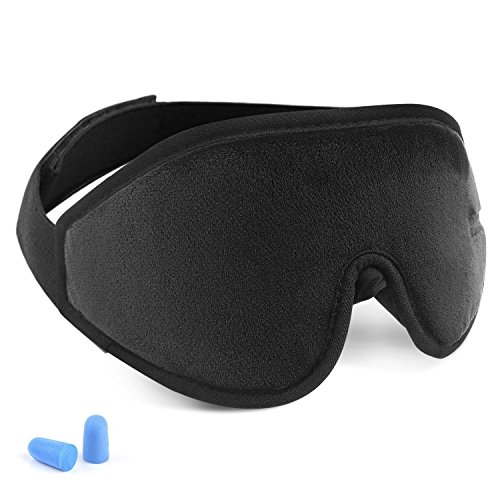 Eye Cover Sleeping mask for Woman and Men, Patented Design 100% Blackout Sleep Mask Comfortable Lightweight Eye Mask & Blindfold for Travel, Nap, Shift Works (Black) by Chicmore