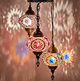 DEMMEX Turkish Moroccan Mosaic Hardwired OR Swag Plug In Chandelier Light Ceiling Hanging Lamp Pendant Fixture, 3 Big Globes (3 X 7″ Globes Swag) For Sale