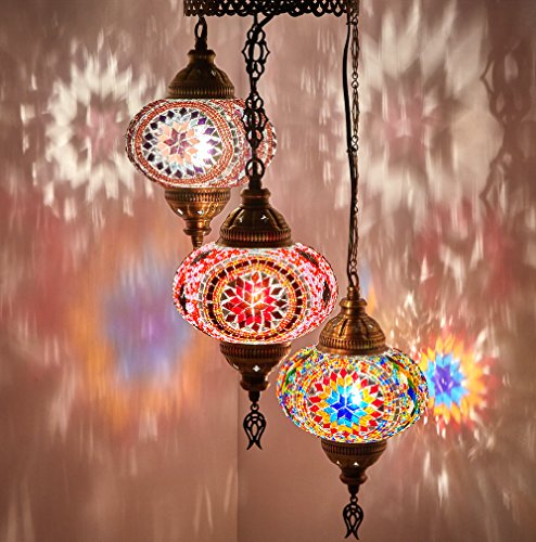 DEMMEX Turkish Moroccan Mosaic Hardwired Or Swag Plug in Chandelier Light Ceiling Hanging Lamp Pendant Fixture 3 X 6.5 Globes – Hard-Wired
