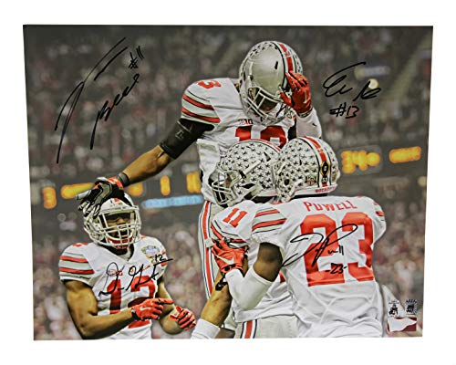 Eli Apple Tyvis Powell Vonn Bell & Dorian Grant Autographed Signed 16x20 Photo Ohio State Buckeyes - Certified Authentic