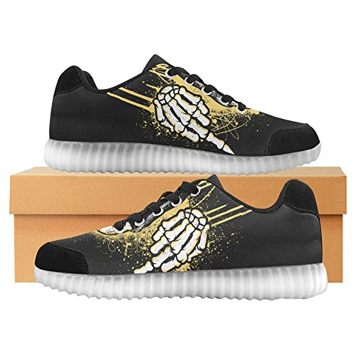 InterestPrint Skull Light Up Shoes Flashing Sneakers Casual Flat Shoes for Men Skull Flips the Bird