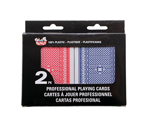2-Decks Poker Sized 100% Plastic Playing Cards, Washable & Cleanable (1 Red & 1 Blue Deck)
