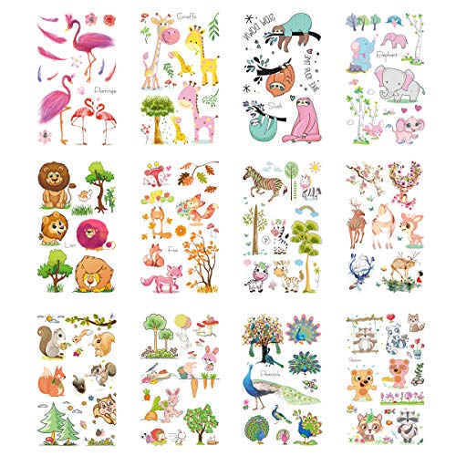 (VIIRY Flamingo Elephant Lion Giraffe Temporary Tattoos for Kids, 12 Sheets Kids Cartoon Animal Tattoos Stickers for Stuffers Party)