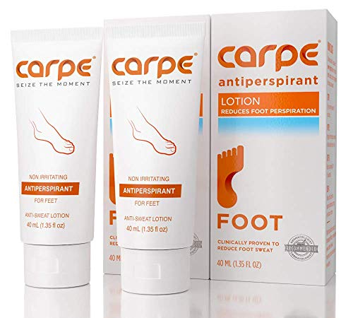 Carpe Antiperspirant Foot Lotion, A Dermatologist-Recommended Solution to Stop Sweaty, Smelly feet, Helps Prevent blisters, Great for hyperhidrosis (Pack of Two)