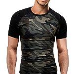 manadlian T-Shirt Hommes, Hommes T-Shirt Minimaliste Militaire Chemise à Manches Courtes Camouflage O-Neck 5