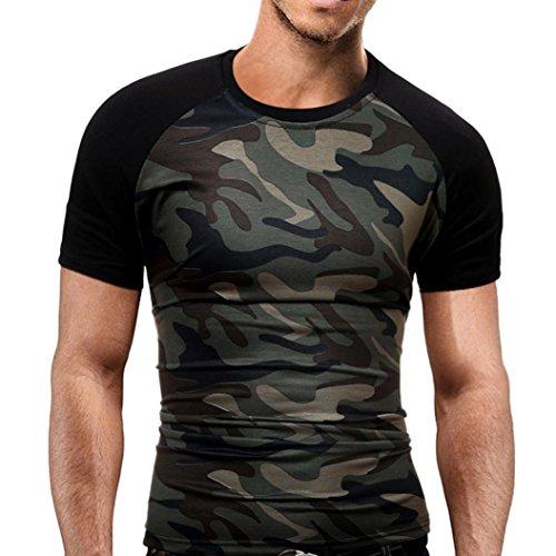 manadlian T-Shirt Hommes, Hommes T-Shirt Minimaliste Militaire Chemise à Manches Courtes Camouflage O-Neck 1