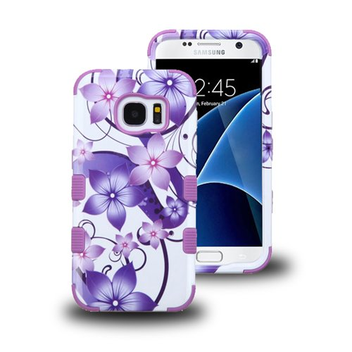 Galaxy S7 Case, LUXCA [Shock Absorb] Hybrid Dual Layer [Heavy Duty] Defender Protective Case Cover for Samsung Galaxy S7 + Screen Protector + Stylus Pen (Purple Flower Hibiscus)