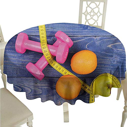 longbuyer Round Tablecloth Vinyl Fitness,Womens Dumbbells Apples Oranges Measuring Tape Eat Clean Live Active Theme Objects,Multicolor D36,for Spring