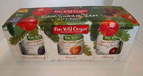 - Raw Sugar Jam Non-GMO Marionberry Peach and Cherry Gift Pack in beautiful box.