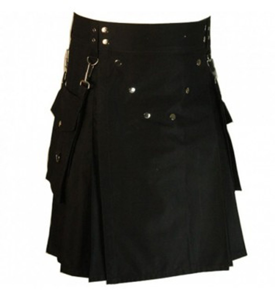 New Black Modern Detachable Pockets Utility Kilt (30)