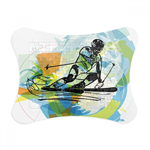 Athletes Skiing Sports Freestyle Watercolor Paper Card Puzzle Frame Jigsaw Game Home Decoration Gift