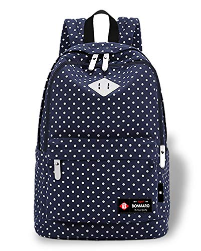 Bonmaro Polka Dots Navy Blue Water-Repellent School/College Backpack for Girls/Women