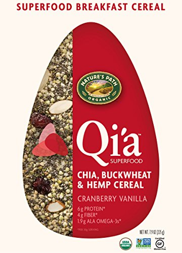 7.9 Ounce Bag (Nature's Path Organic Qi'a Gluten-Free Superfood Chia, Buckwheat & Hemp Cereal, Cranberry Vanilla, 7.9 Ounce)