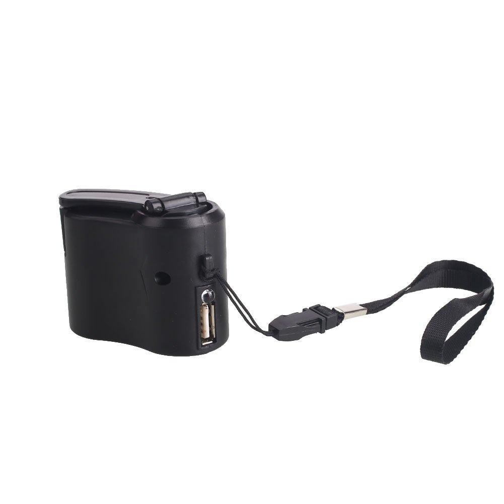 Hanbaili G/én/érateur portatif de chargeur de dynamo durgence de manivelle dUSB pour T/él/éphone portable Mobile
