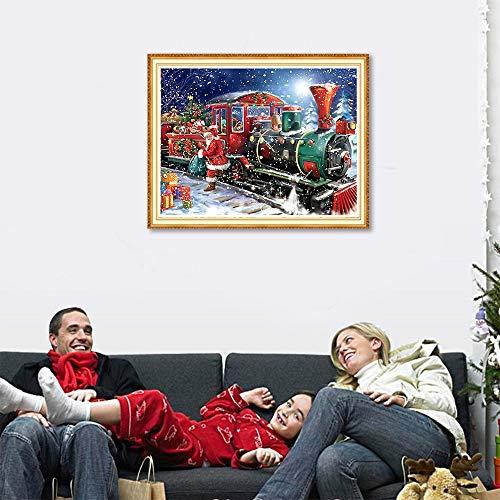 TONVER 5D Kit de pintura de diamantes, mosaico diamante dibujo Christmas Train paisaje artes manualidades bordado punto de cruz Kit de decoraciš®n de pared ...