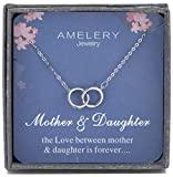Amelery Necklace Link Crystal Circle Pendant Mother Daughter Card Silver Infinity Circles Mothers Day CZ Jewelry Gift