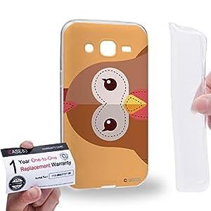 Case88 [Samsung Galaxy J2] Gel TPU Carcasa/Funda & Tarjeta de garantía - Art Chicken Animals Patches Series Art1634