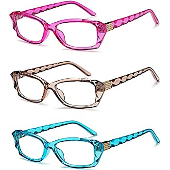 54dffb04df VVDQELLA Colored Reading Glasses Crystal Design 3 Pack with 3 Microfiber  Pouch Fashion Colorful Readers Glasses