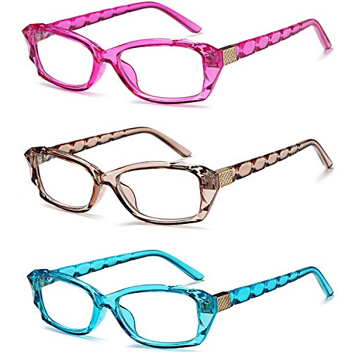 - VVDQELLA Colorful Reading Glasses Set of 3, The Crystal Design Computer Unisex Readers3.50D(Pink/Bule/Chocolate)