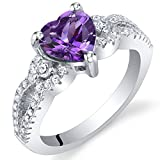 Amethyst Sterling Silver Heart Soulmate Ring Size 7