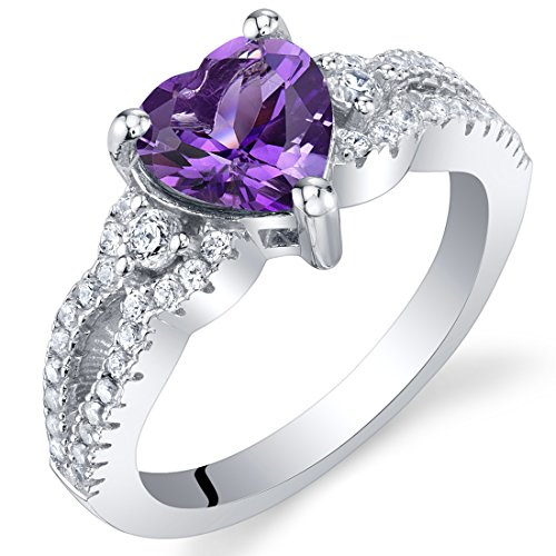 Amethyst Sterling Silver Heart Soulmate Ring Size 7 1 Ct Amethyst Solitaire