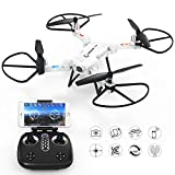 quad copter white - GoolRC T32 FPV Drone Foldable with WiFi Camera Live Video Headless Mode 2.4GHz 4 Channel 6 Axis RTF Height Hold RC Quadcopter (White)