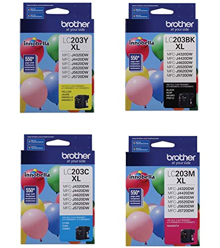 Brother LC203 Ink Cartridge (Black, Cyan, Magenta, Yellow, 4-Pack) in Retail Packaging