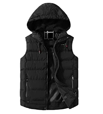 ecb873ab7 YIhujiuben Men's Winter Puffer Vest Hooded Quilted Warm Sleeveless ...