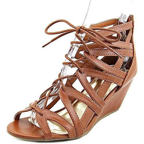 Material Girl Womens Hera Open Toe Casual Platform Sandals, Cognac, Size 10.0 (10 Size Sandals Wedge)