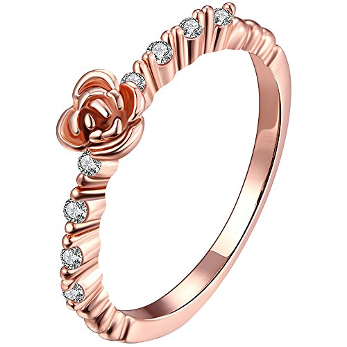 LWLH Jewelry Womens 18k Rose Gold Plated Roses Flower Cubic Zirconia CZ Love Eternity Ring Wedding Band Szie 5