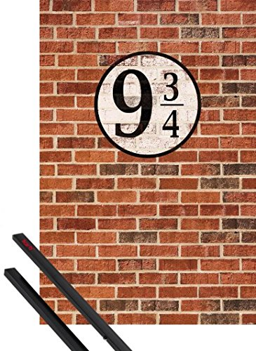 1art1 Poster + Hanger: Brick Walls Poster (36x24 inches) Platform Nine and Three-Quarters and 1 Set of Black Poster Hangers